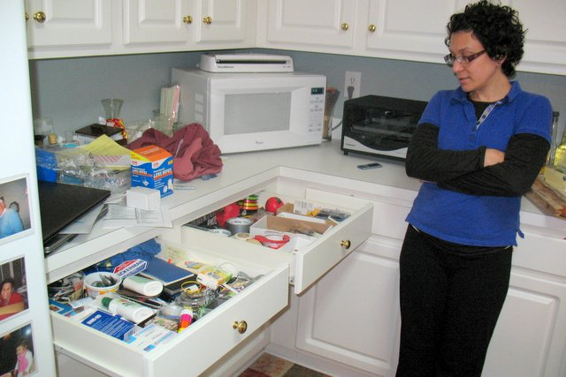 Before: Deb's kitchen drawers.