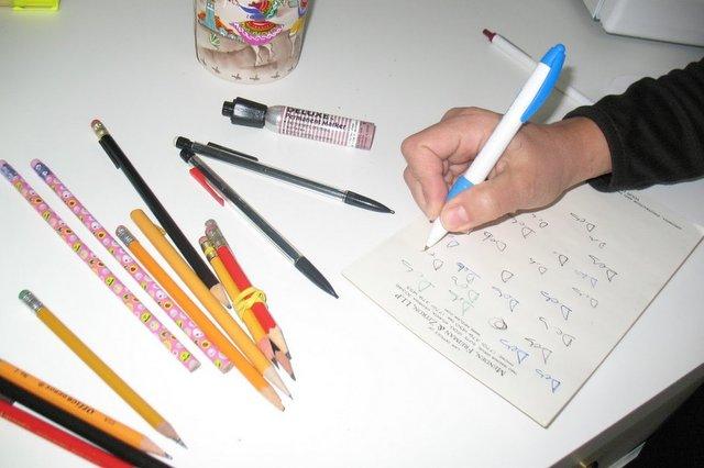 In Process: Deb testing her pens.