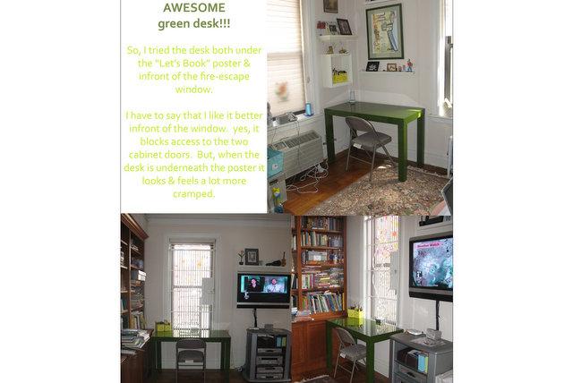 Sarah explores where to place her new desk.