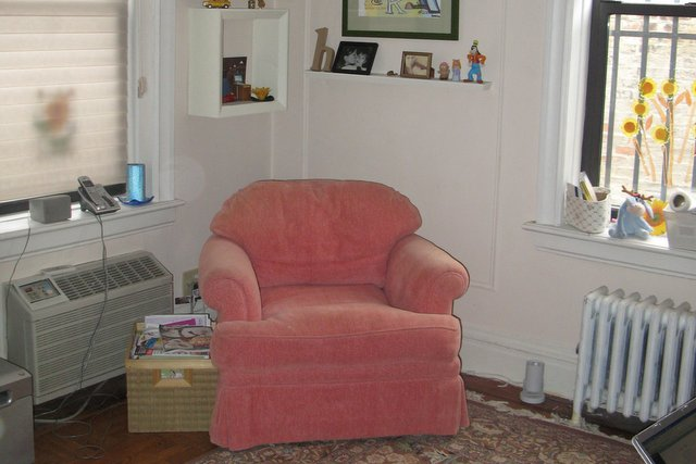 After: the pink chair cleared and ready for reading.