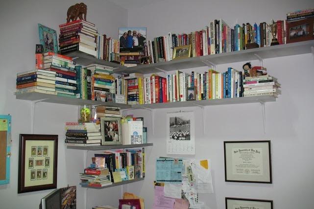 Kathryn's newly arranged shelves.