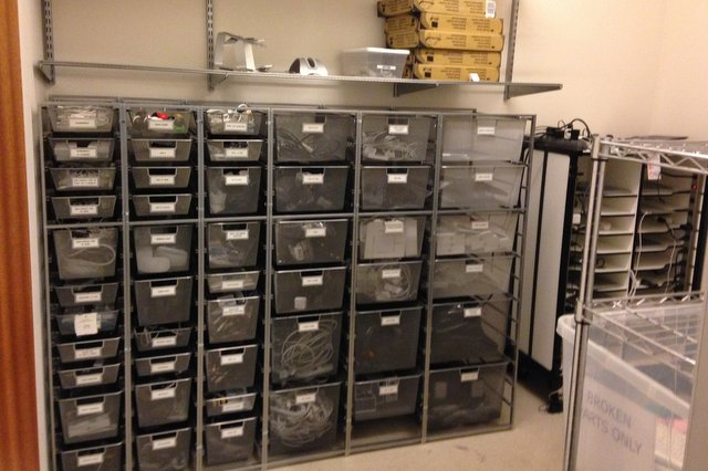 Cable storage where employees could easily find what they needed!