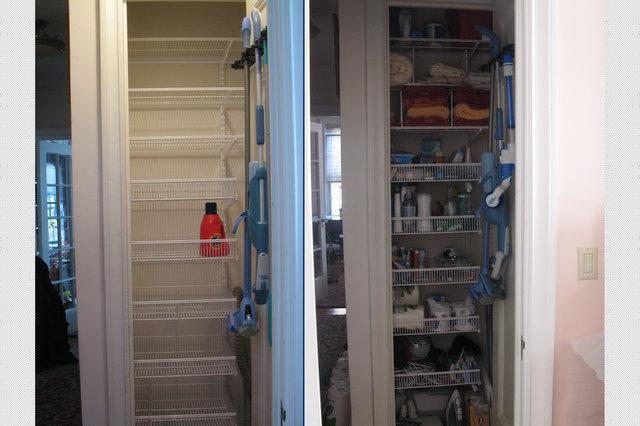 Sarah's supply closet, with new shelving.