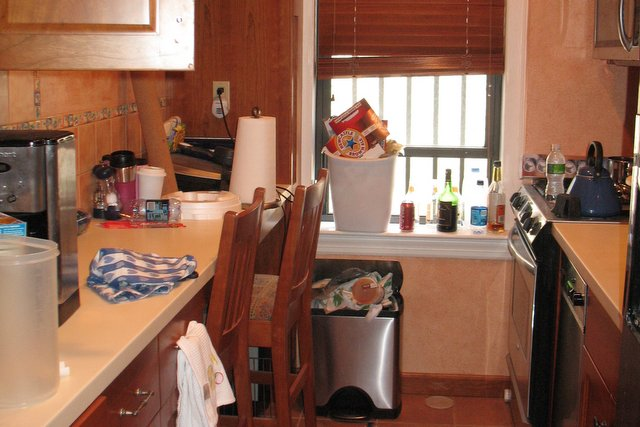 Before: Sarah's kitchen isn't as clean as she'd like.