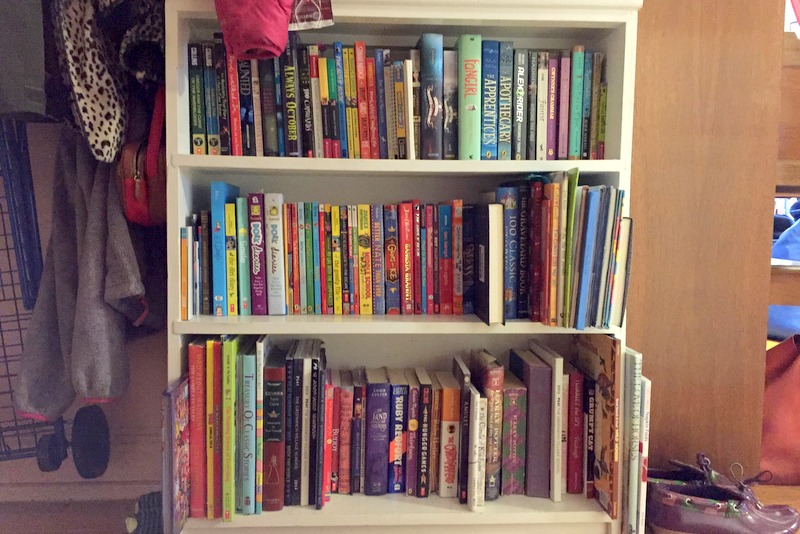 The new bookshelf, organized for each sister.