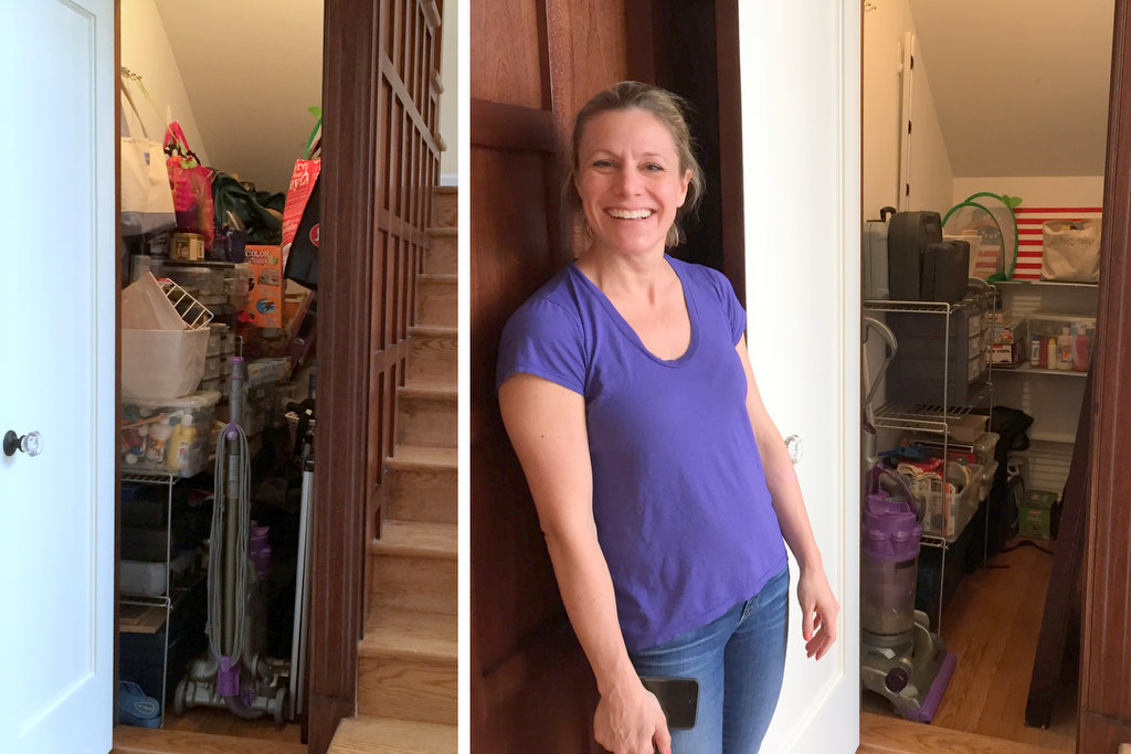 The utility closet, before and after.