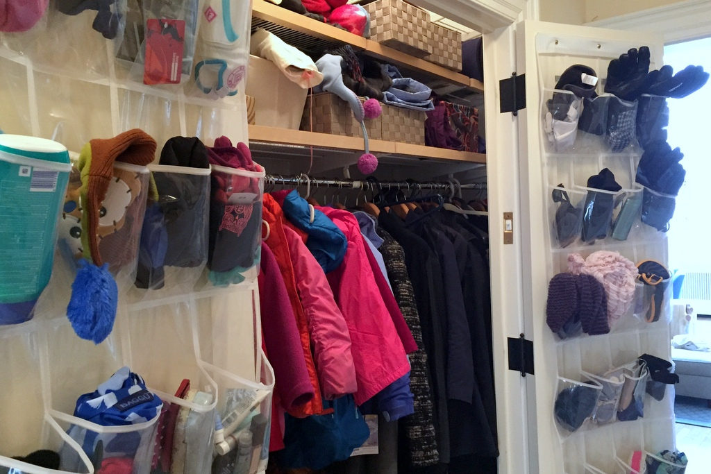 Before: A hall closet filled to the brim, and tough for the family to use.