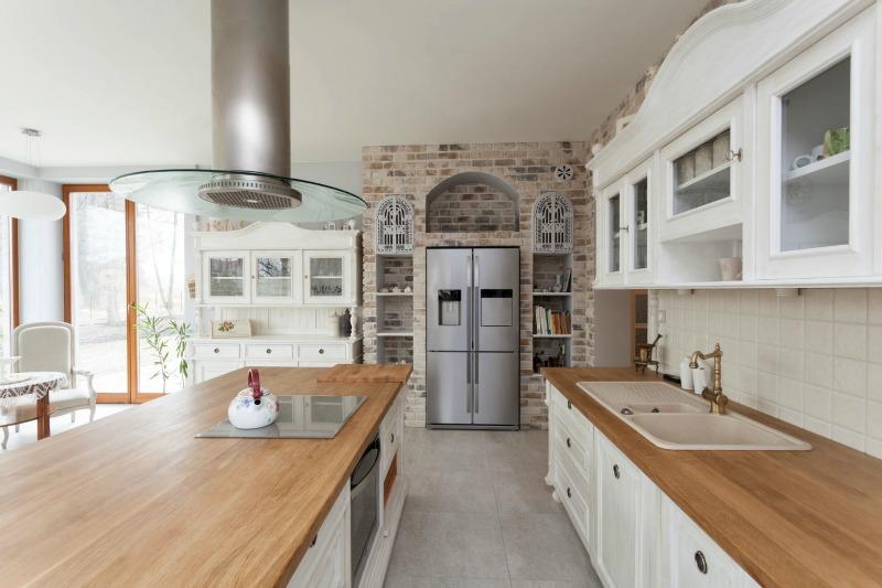 kitchen with stainless steel refridgerator