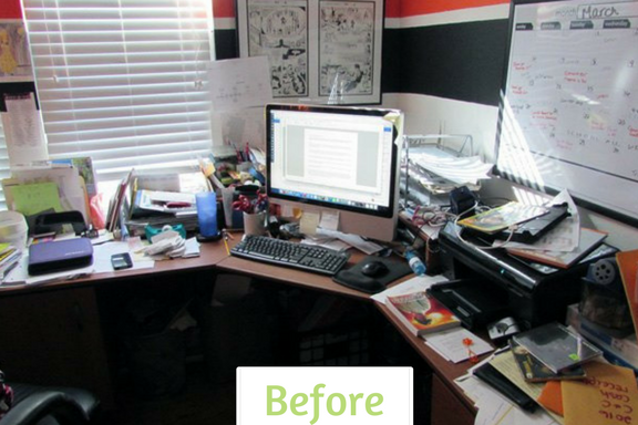 Pam's 'before' - a cluttered desk with no space to work